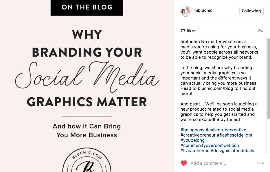 branding social media graphics on Instagram